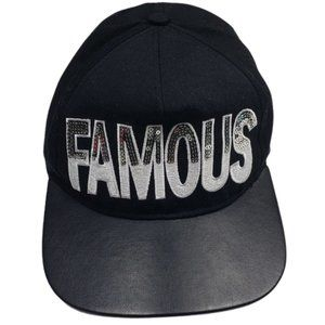 Famous Sequin Leather Snapback Graphic Black Hat
